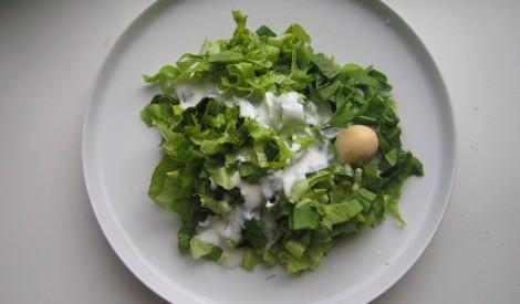 Zaļie salāti ar kefīru