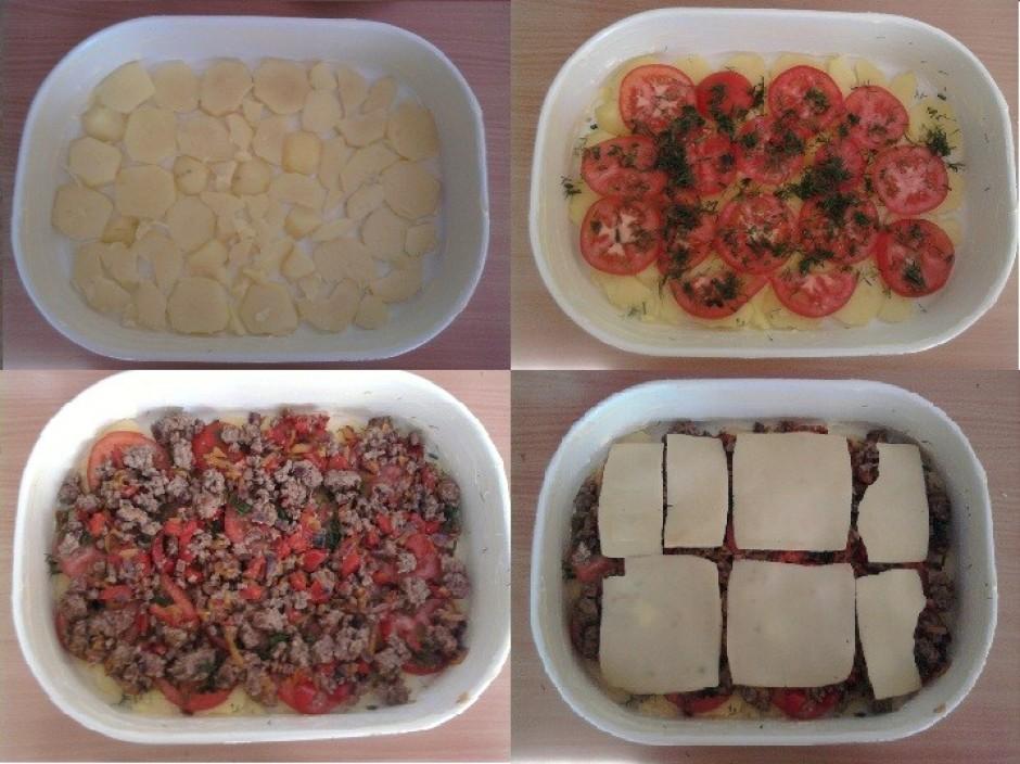 Tad visu krāmējam pa kārtām traukā: kartupeļi - tomāti - dil...