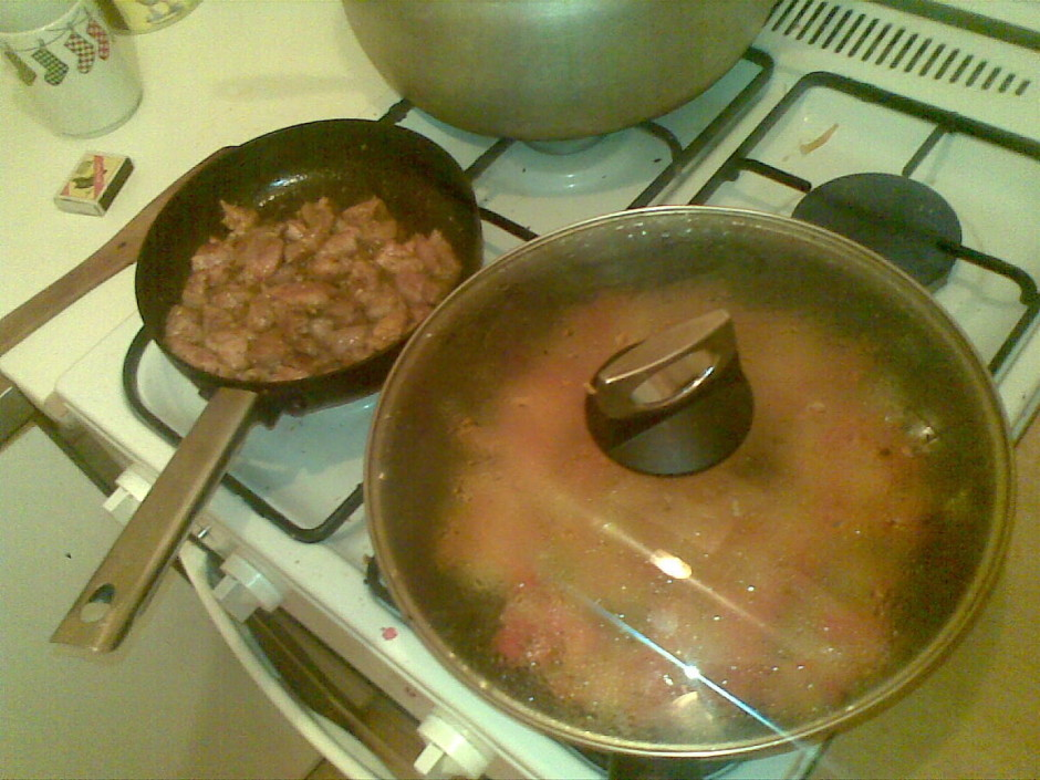 Liek cepties (gaļu atsevišķi - gaļa jāizcep sausi), protams,...