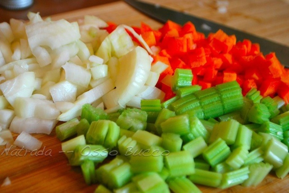 Dice carrot, celeries and onion into fine pieces. Chop garli...