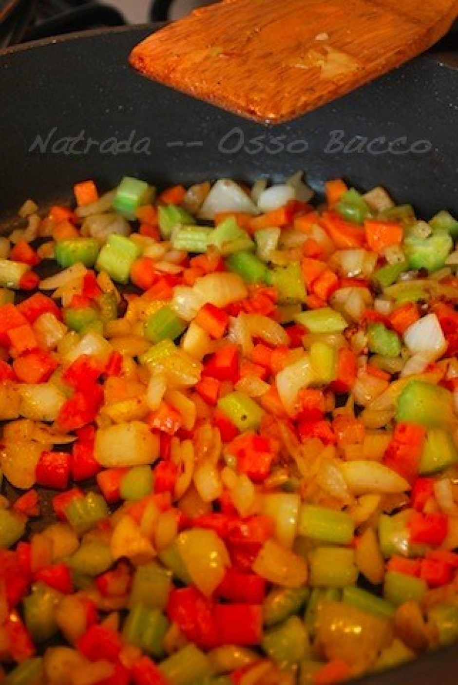 Add carrot, celeries, onion and garlic in the same pan and c...