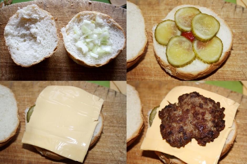 Secība: Burgermaizīte, tomātu mērce (1 ēd. k.), sīpols, mari...
