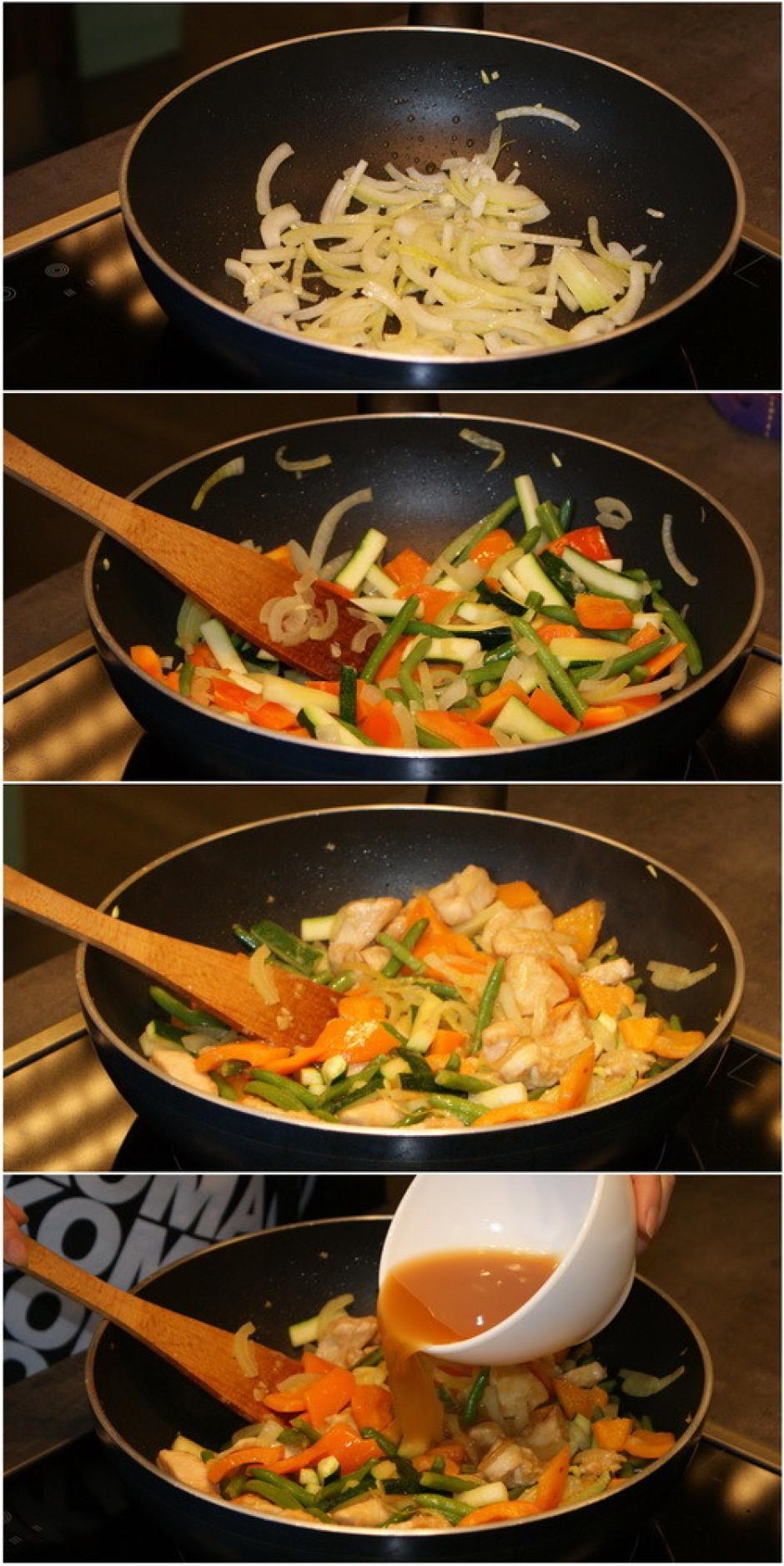 Pannas saturam pievieno Teriyaki marinādes, kartupeļu cietes...