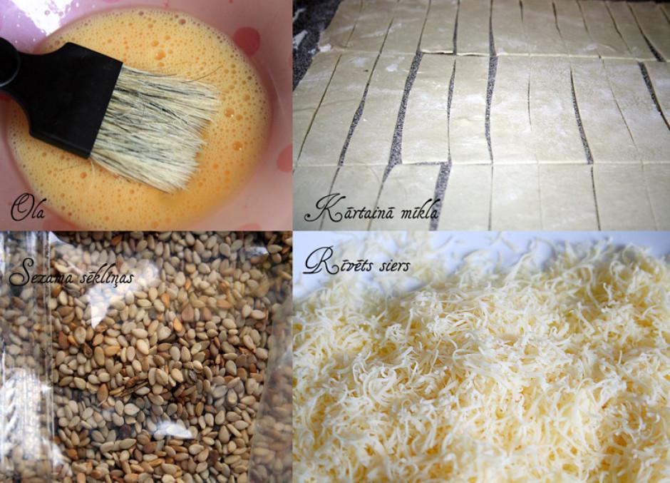 Izveltnē mīklu, sagriež strēmelēs. Sakuļ olu un sarīvē sieru...