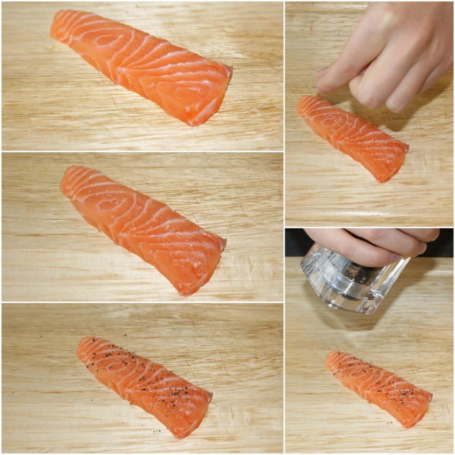 Katru gabaliņu apkaisa ar sāli un pipariem no abām pusēm.
