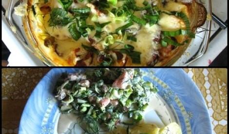 Kartupeļu sacepums ar alkšņu desiņām