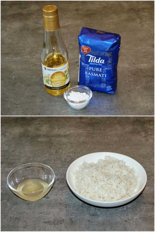 Samaisa pūdercukuru un Mizkan Japāņu rīsu etiķi, šo maisījum...