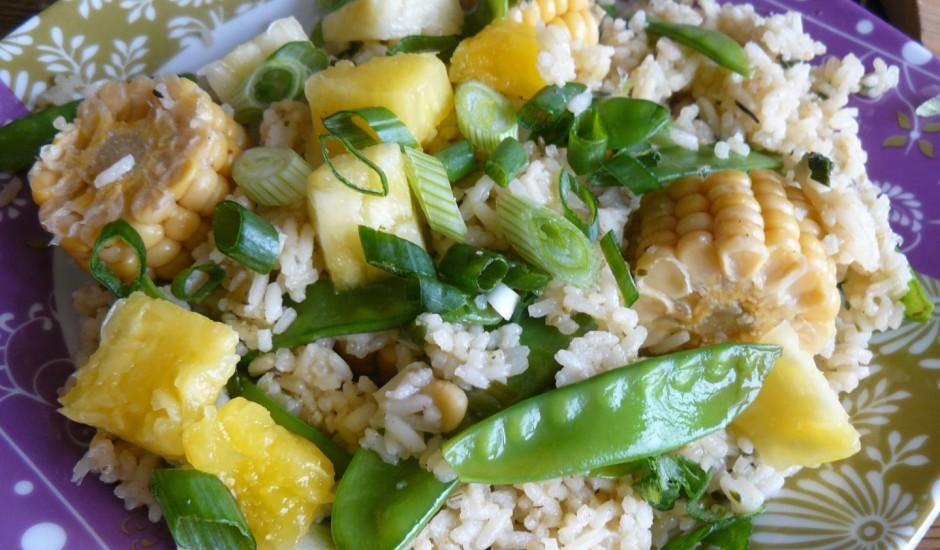 Cepti rīsi dārzeņu-kukurūzas mērcē