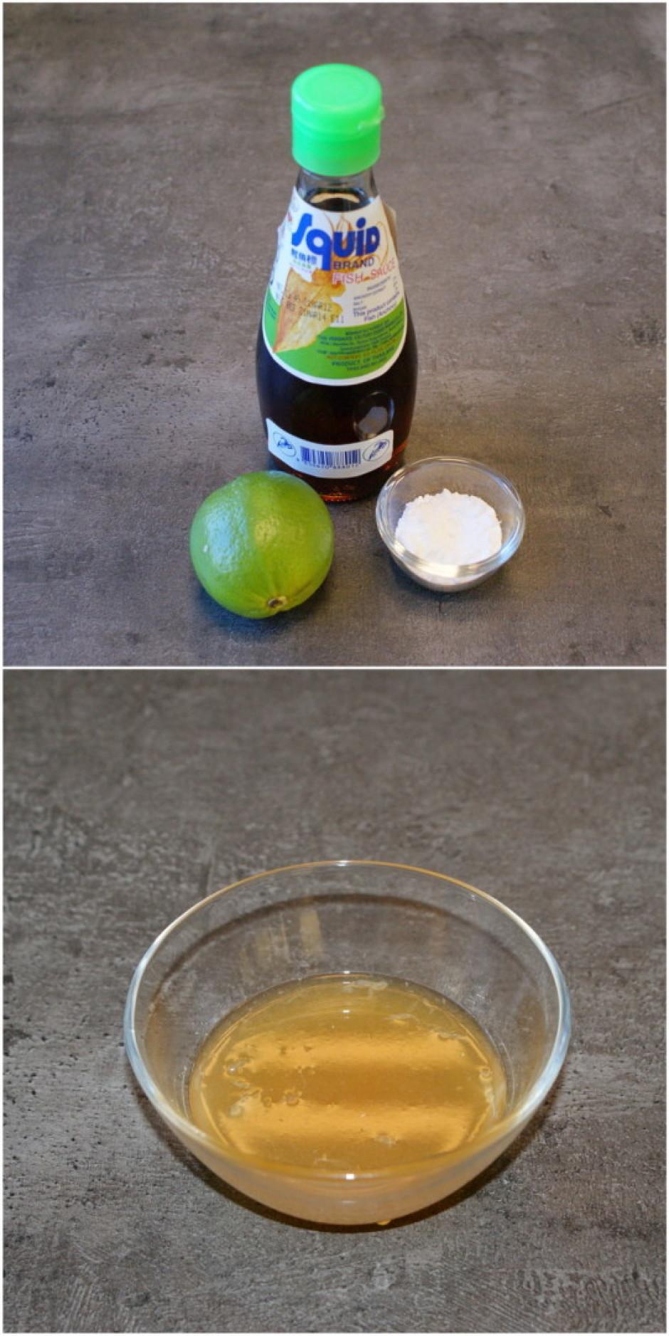Pagatavo salātu mērci – samaisa pūdercukuru ar zivju mērci u...