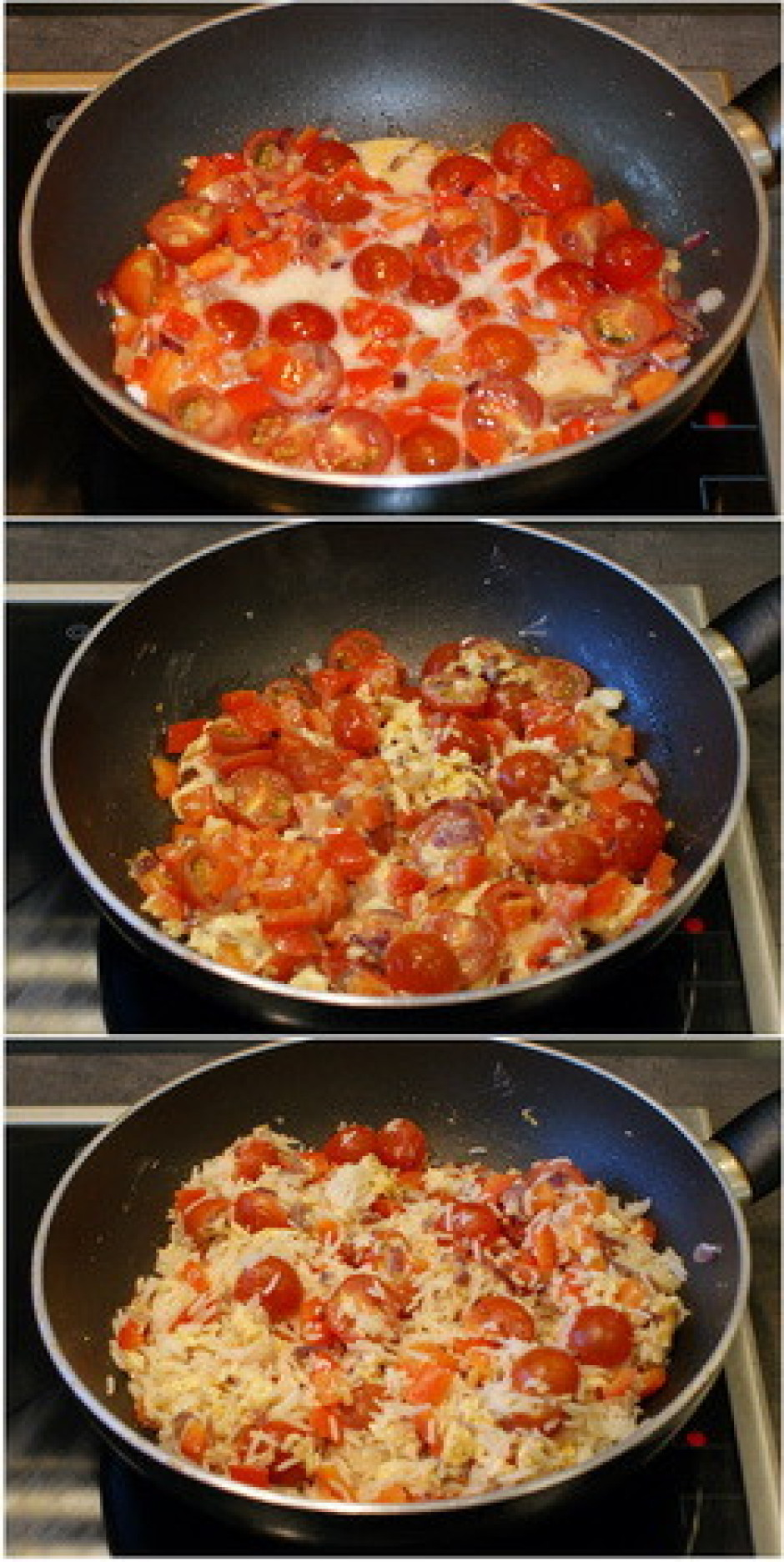 Masai pievieno novārītos rīsus, maisot cep apmēram 3 minūtes...