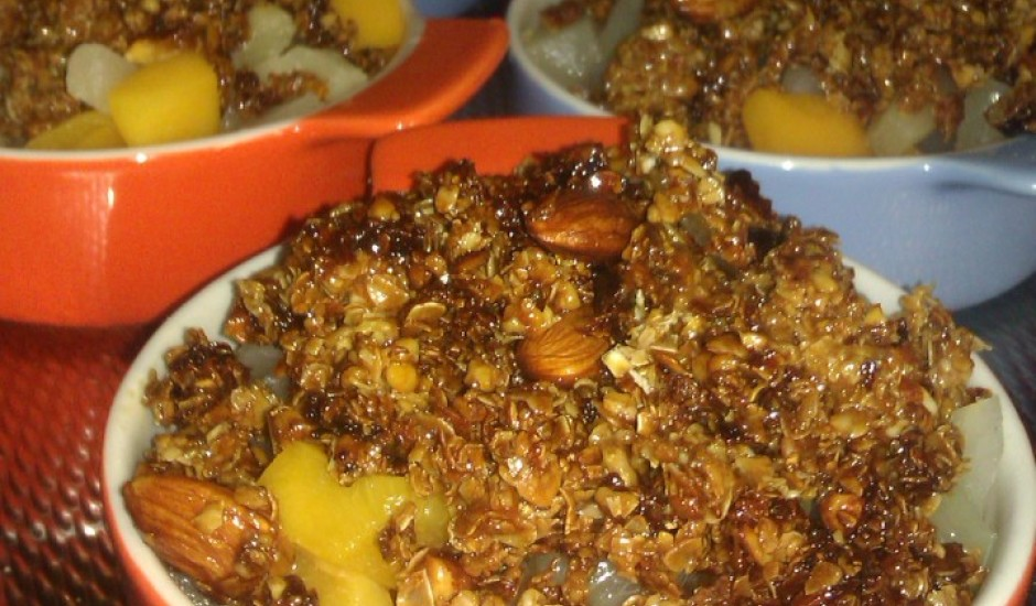 Kompota augļi ar auzu pārslām