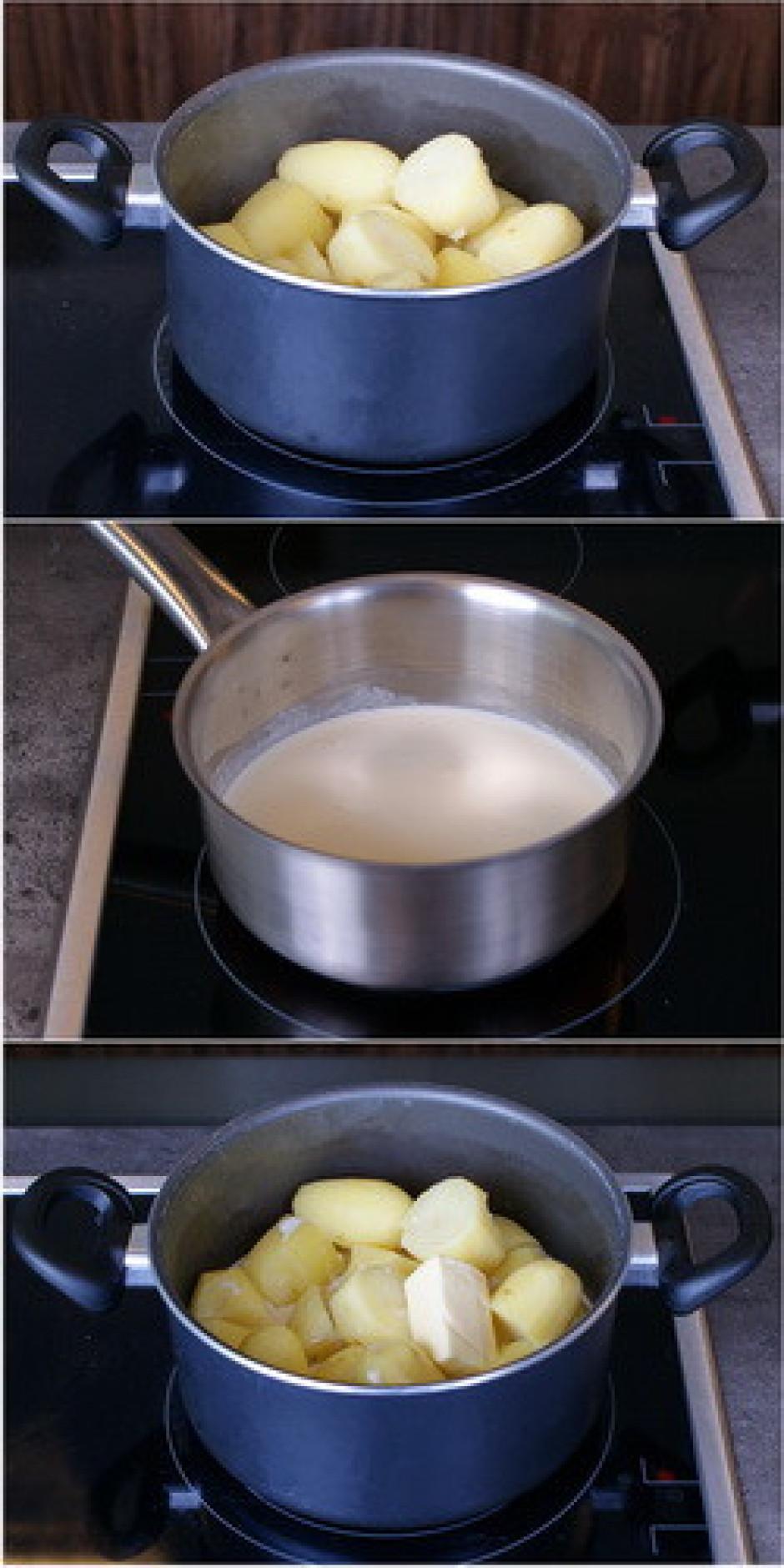 Kartupeļiem pievieno sviestu, uzkarsētu pienu un saldo krēju...