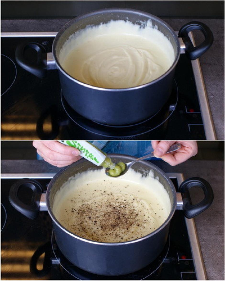 Pievieno vasabi pastu, kā arī sāli un piparus pēc garšas.