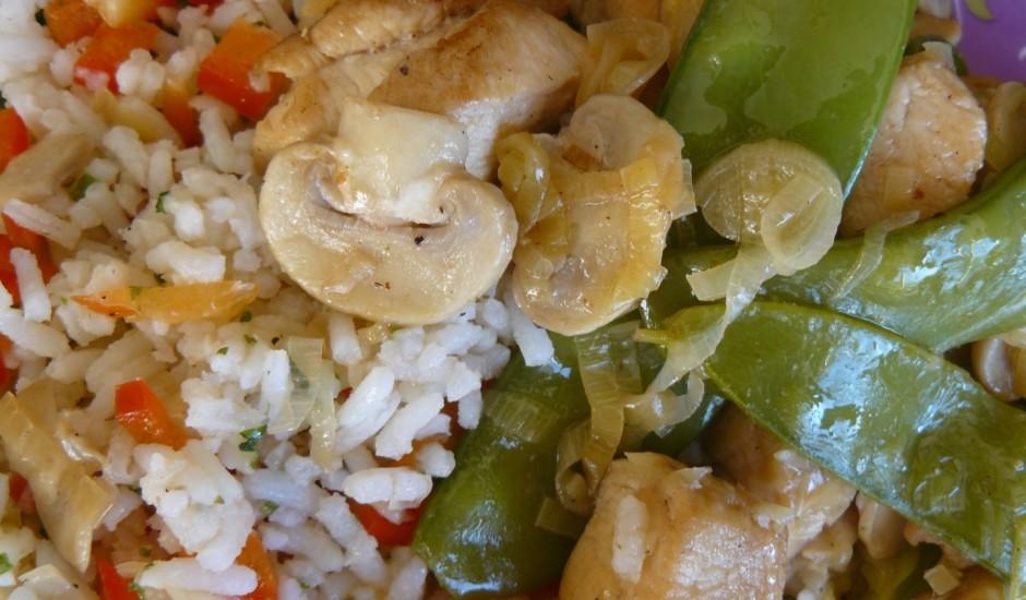 Vokpannā cepta vista ar rīsiem un dārzeņiem