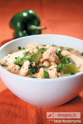 Balto pupiņu vistas zupa