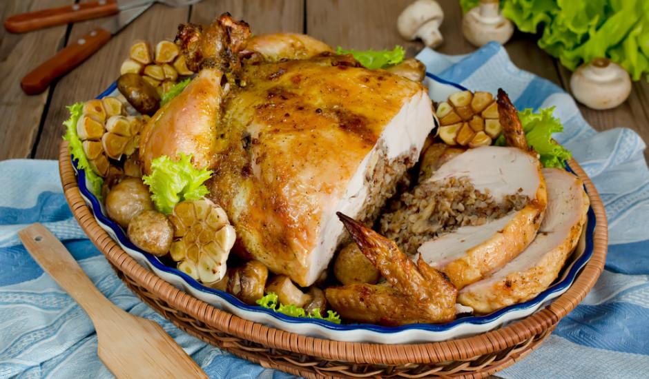 Ar sēnēm pildīts vistas cepetis