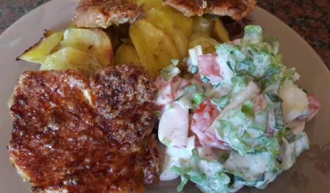 Cūkgaļa sinepju-majonēzes marinādē ar krāsnī ceptiem kartupeļiem
