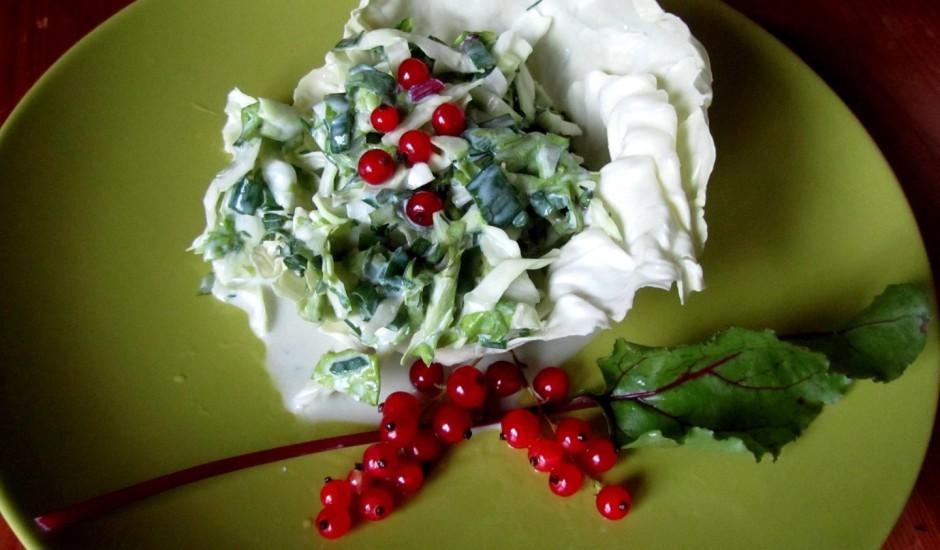 Kāpostu un biešu lapu salāti ar kronīti