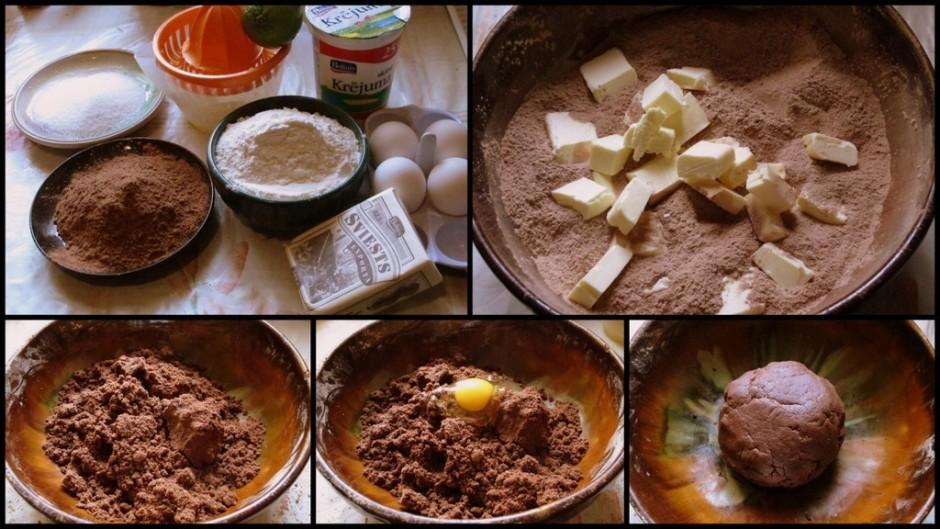 Tātad, lai pagatavotu mīklu miltus, cukuru, kakao, sāli, cep...
