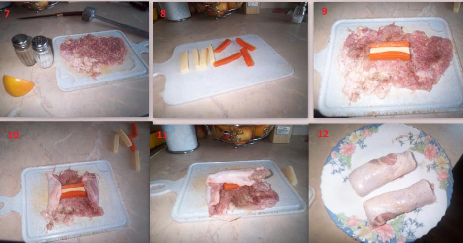 Uz izklapētās gaļas liek burkāna un siera strēmelītes, uzlej...
