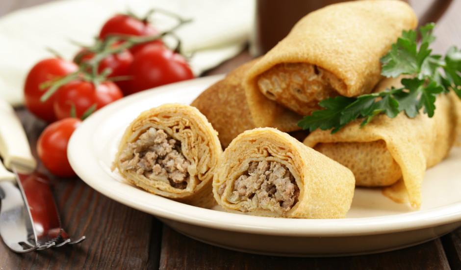 Plānās pankūkas ar malto gaļu
