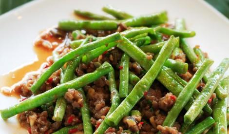 Zaļās pupiņas ar malto gaļu