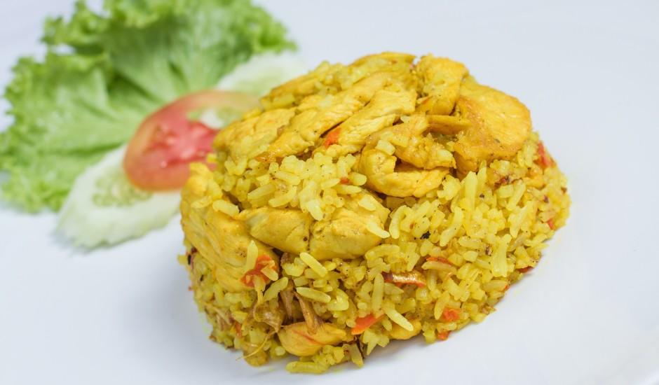 Vistas gaļa rīsos ar burkāniem un ingveru