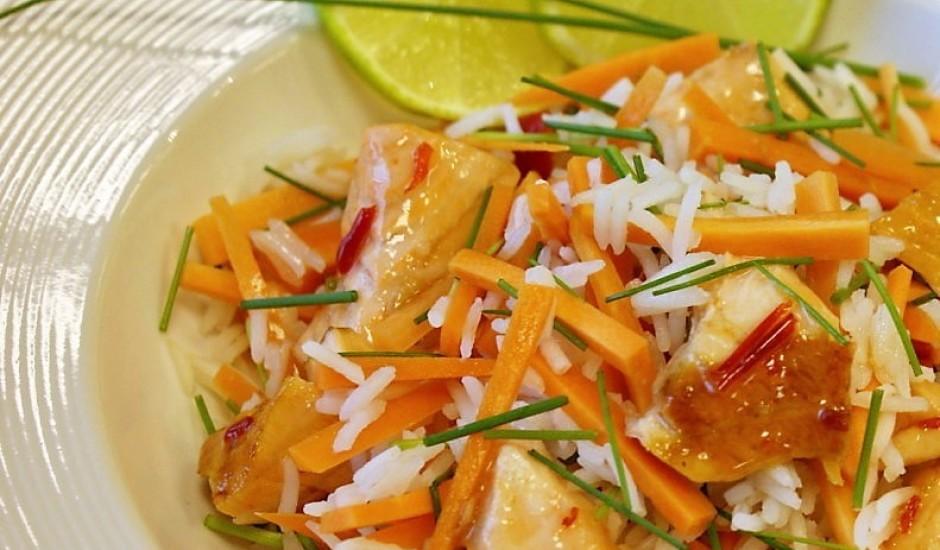 Laša un basmati rīsu pikantie salāti