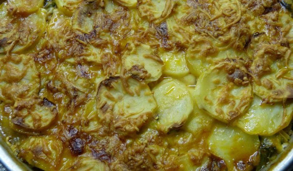 Kartupeļu un spinātu sacepums