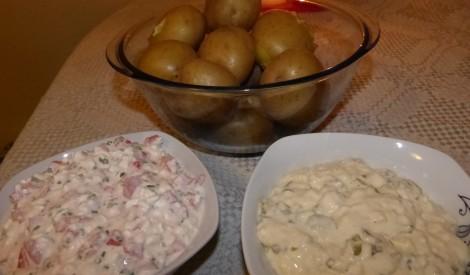 Divas mērces pie ar mizu vārītiem kartupeļiem