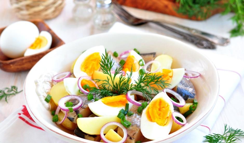 Kartupeļu salāti ar siļķi