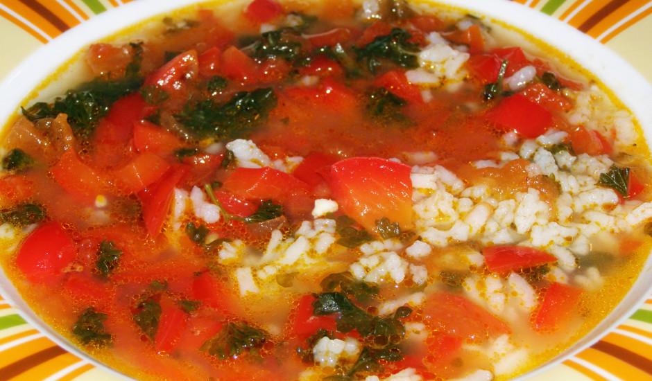Rīsu - paprikas  zupa vista buljonā