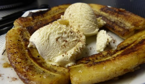 Cepti banāni ar saldējumu