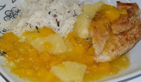 Vistas fileja ar ķirbi un ananasu
