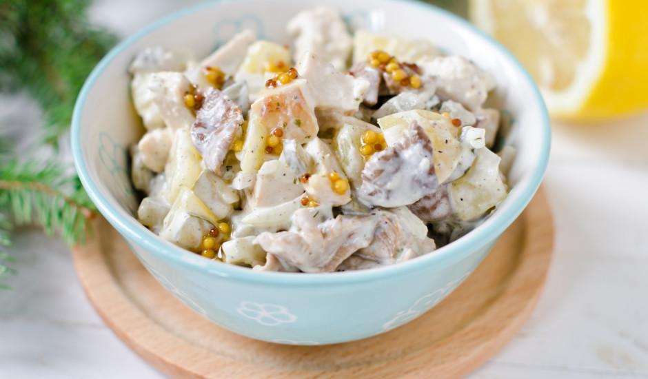 Žāvētas vistas, sēņu salāti ar kartupeļiem