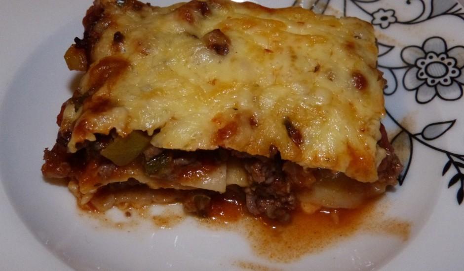 Lazanja ar malto gaļu un cukini