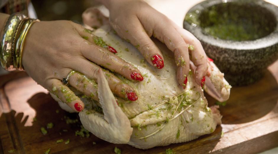 Ar izveidoto marinādi kārtīgi iemasē vistu.