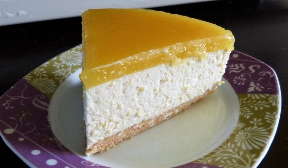 Mango siera kūka ar apelsīnu želeju