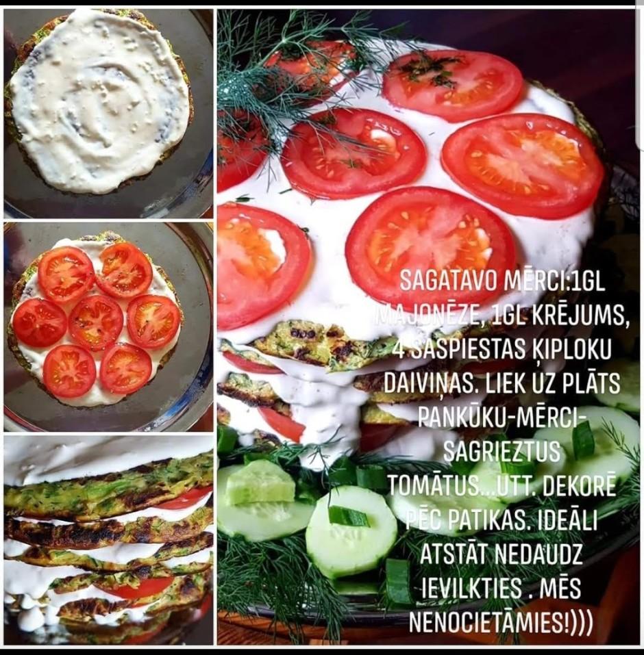 Liek kārtas - pa vidu mērci un tomātus. Dekorē pēc patikas!...