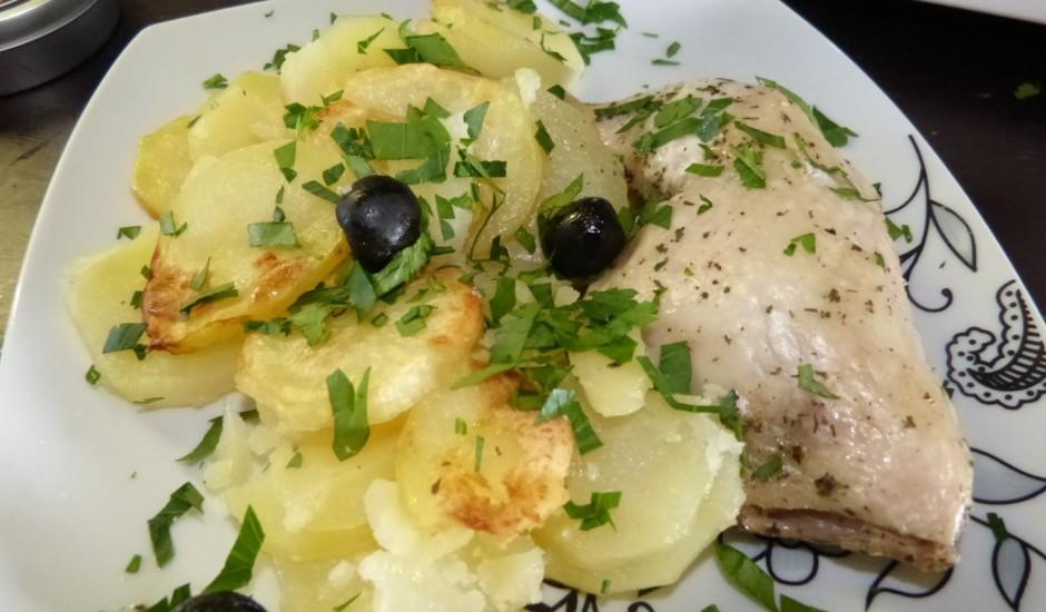 Vistas stilbiņi un kartupeļi ar apelsīnu un olīvu mērci