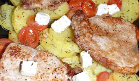 Karbonāde ar fetu un kartupeļiem