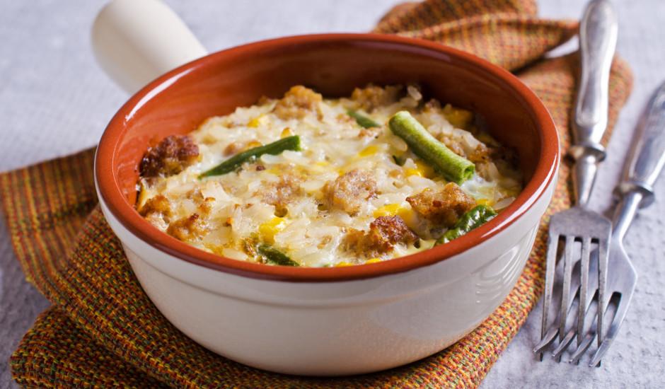 Gaļas un rīsu sacepums