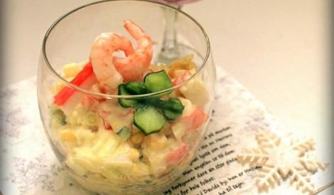 Krabju salāti ar garnelēm