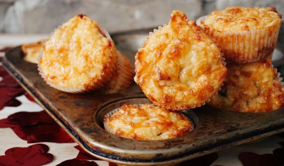 Kartupeļu mafini ar sieru un bekonu
