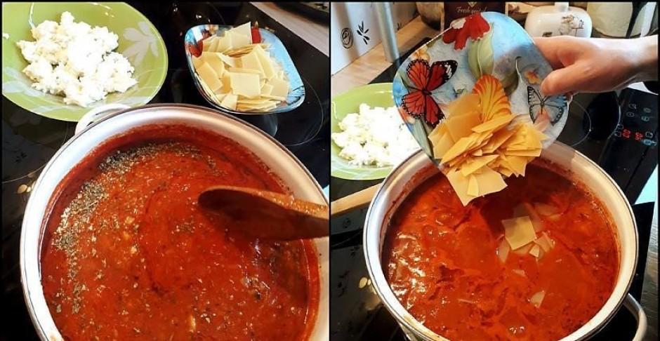 Lazanjas makaronus salauž nelielos gabaliņos. Kad zupa pavār...
