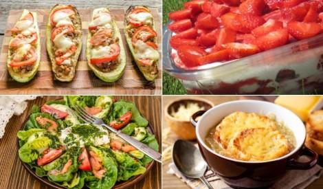 Svaigi salāti, gardas kabaču laiviņas un zemeņu deserts: maltīte nedēļai