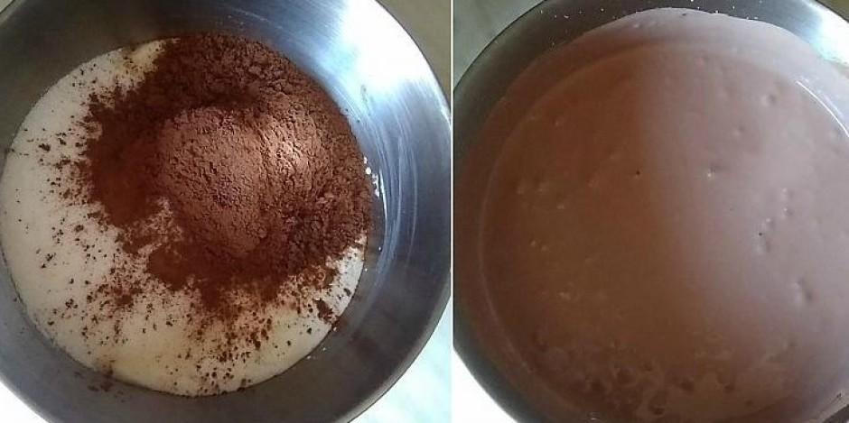 Krējumam pievieno cukuru un kakao. Visu kopā ar mikseri kuļ...