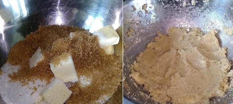 Sākumā ieliek bļodā sviestu, pieber parasto un brūno cukuru,...