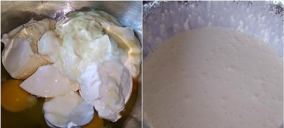 Gatavo krēmu! Bļodā ieliek krēmsieru, jogurtu, olas un vaniļ...