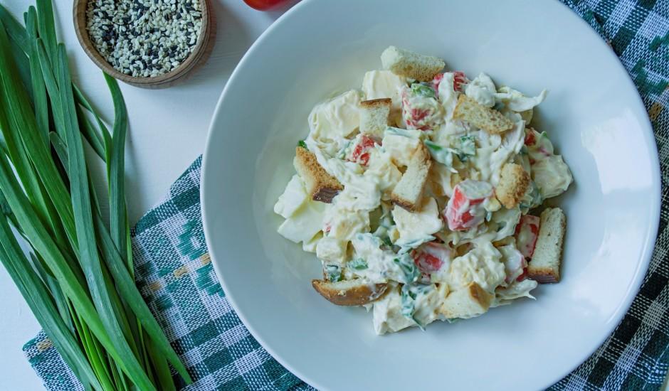 Vistas filejas un krabju nūjiņu salāti